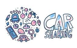 Car sharing concept. Vector flat illustration. Car sharing concept. Hand lettering with round badge in doodle style. Vector illustration stock illustration
