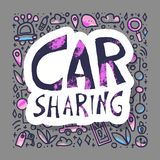 Car sharing concept. Vector illustration. Car sharing concept. Hand lettering sticker with symbols. Vector illustration royalty free illustration