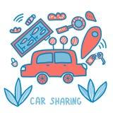 Car sharing concept. Vector flat illustration. Car sharing concept. Hand lettering with symbols. Vector illustration royalty free illustration
