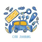 Car sharing concept. Vector flat illustration. Car sharing concept. Hand lettering with symbols. Vector illustration stock illustration