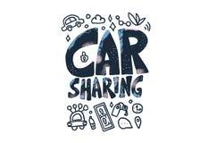 Car sharing concept. Vector illustration. Car sharing concept. Hand lettering with symbols. Vector illustration vector illustration