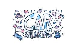 Car sharing concept. Vector illustration. Car sharing concept. Hand lettering with symbols. Vector illustration stock illustration