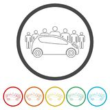 Car Sharing icon, Car sharing Symbol, 6 Colors Included. Simple vector icons set Stock Images