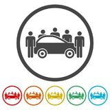Car Sharing icon, Car sharing Symbol, 6 Colors Included. Simple vector icons set Royalty Free Stock Image