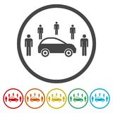 Car Sharing icon, Car sharing Symbol, 6 Colors Included. Simple vector icons set Stock Photos