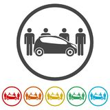Car Sharing icon, Car sharing Symbol, 6 Colors Included. Simple vector icons set Stock Photography