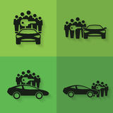 Car Sharing Icons. Set of four icons with groups of people with shared key next to or behind cars Royalty Free Stock Photography
