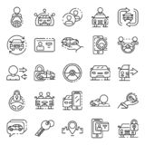 Car sharing icons set, outline style. Car sharing icons set. Outline set of car sharing vector icons for web design isolated on white background stock illustration