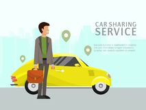 Car sharing landing page online transportation concept vector illustration. People use website to order online. Transportation car based on GPS. Flat style man royalty free illustration