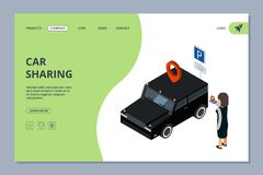 Car sharing landing page. Woman finds car with mobile app vector isometric concept vector illustration