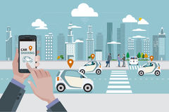 Car Sharing. Man`s hands with a smart phone with a car sharing app. Roads with car sharing cars and people walking on the street. In the background skyline royalty free illustration