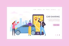 Free Car Sharing Mobile App Service, Vector Illustration. Online Order And Map On Smartphone, People Character Rent Transport Stock Photography - 187185572