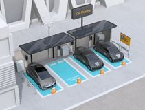 Car sharing parking lot equipped with solar panels, charging stations and batteries. 3D rendering image royalty free stock images