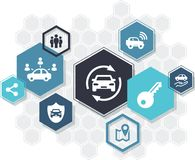 Car sharing / ride sharing & carpooling icons concept – vector illustration. Abstract concept showing hexagonal shapes with car sharing / carpooling icons vector illustration