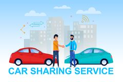 Car Sharing Service Banner. Vehicle Handover. Car Sharing Service Banner. Two Man in Vehicle Handover. Client and Dealer Character Handshake. Rent and vector illustration