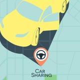 Car sharing service concept. Carsharing rental car illustration. vector illustration