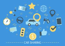 Car sharing service concept. Idea of vehicle. Share and transportation. Mobile application for automobile renting. Set of colorful icons. Isolated flat vector royalty free illustration