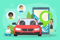 Car sharing service concept. Idea of vehicle. Share and transportation. Mobile application for automobile renting. Vector illustration in cartoon style stock illustration
