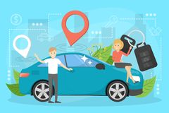 Car sharing service concept. Idea of vehicle. Share and transportation. Mobile application for automobile renting. Vector illustration in cartoon style royalty free illustration