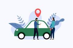 Car sharing service, mobile city transportation, business concept stock illustration