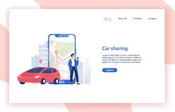 Car sharing service website template with automobile, man standing beside giant smartphone with city map on screen and stock illustration
