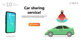 Car sharing service. Yoga calm man and car. royalty free illustration