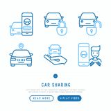 Car sharing thin line icons set. Of mobile app, key, blocked car, pointer, available, searching of car, pointer. Modern vector illustration Royalty Free Stock Photography