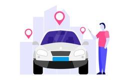 Car Sharing, Transport renting service concept. royalty free illustration