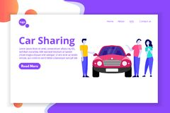 Car Sharing, Transport renting service concept. Web, landing page template stock illustration