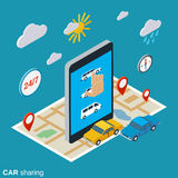 Car sharing vector concept. Car sharing flat 3d isometric vector concept illustration Stock Image