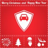 Car shield Icon Vector. And bonus symbol for New Year - Santa Claus, Christmas Tree, Firework, Balls on deer antlers Stock Photography