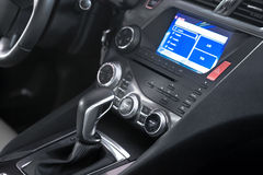 Car shift lever and  center stack Stock Image