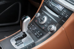 Car shift lever and stereo control Stock Photo