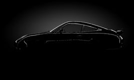 Car shine silhouette. Silhouette of a shining car standing in the darkness Stock Images