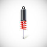 Car shock absorber and spring. Royalty Free Stock Photo