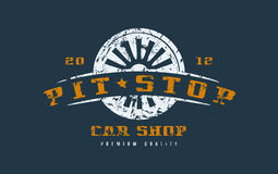 Car shop badge with shabby texture Royalty Free Stock Photo
