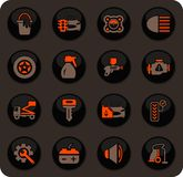 Car shop icons set. Car shop color vector icons on dark background for user interface design royalty free illustration
