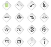 Car shop icon set. Car shop flat rhombus web icons for user interface design royalty free illustration