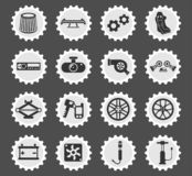 Car shop icon set. Car shop web icons stylized postage stamp for user interface design vector illustration