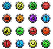Car shop icon set. Car shop icons on color round glass buttons for your design Stock Image