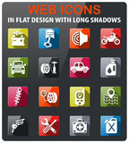 Car shop icon set. Car shop icons set in flat design with long shadow Stock Photography