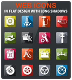 Car shop icon set. Car shop icons set in flat design with long shadow Stock Photo