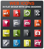 Car shop icon set. Car shop icons set in flat design with long shadow Stock Image