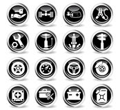 Car shop icon set. Car shop icons on stylish round chromed buttons Stock Photo