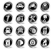 Car shop icon set. Car shop icons on stylish round chromed buttons Royalty Free Stock Images