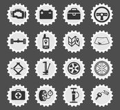 Car shop icons set. Car shop black silhouette simply icons for web Stock Images