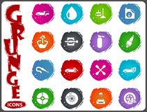 Car shop icons set in grunge style Royalty Free Stock Photo
