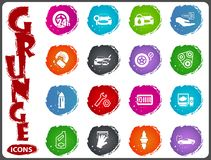 Car shop icons set in grunge style. Car shop icon set for web sites and user interface in grunge style Stock Photo