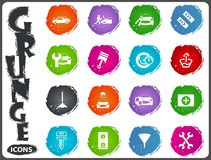 Car shop icons set in grunge style. Car shop icon set for web sites and user interface in grunge style Stock Photos