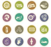 Car shop icons set. Car shop icon set for web sites and user interface Stock Photos